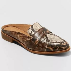 UNIVERSAL THREAD Amber Snake Print Mules in Taupe